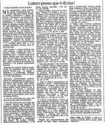 Lutero pensa que é divino. 10-01-1984 Facsimile Acervo Folha