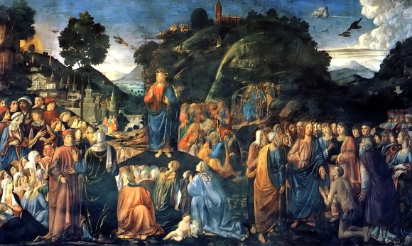 Sermon On The Mount with the Healing of the Leper Cosimo Rosselli, 1481