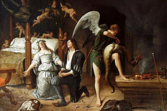Las bodas de Tobias y Sara. 1660. Obra de Jan Havicksz. Steen. óleo sobre lienzo (81 x 123 cm). Museum Bredius. La Haya. Holanda