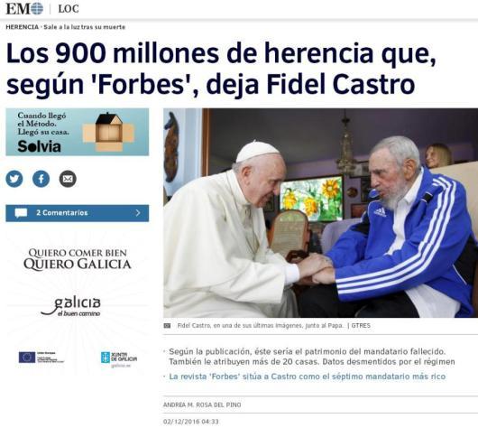 Resultado de imagen para fidel 900 millones