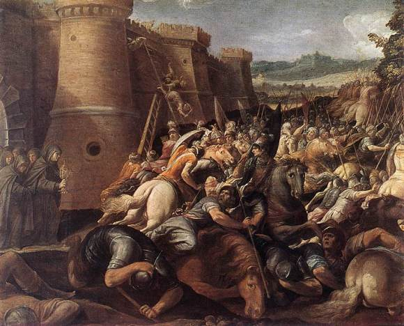 Cavalier_d'Arpino_-_St_Clare_with_the_Scene_of_the_Siege_of_Assisi_-_WGA04703