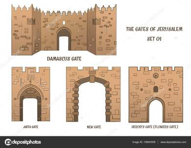 The gates of the Old City of Jerusalem, set 1. Raster illustration