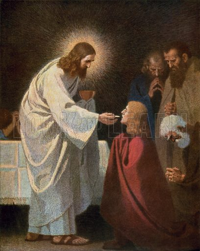 Jesus giving Communion to St John
