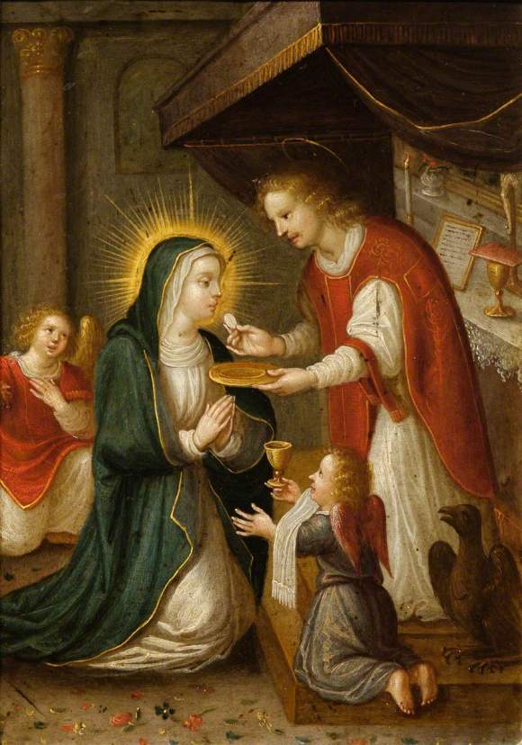 Flemish School; The Virgin Mary Receiving the Eucharist from Saint John the Apostle